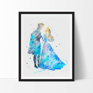 Princess Aurora & Prince Philip, Disney Princess Baby Girl Nursery Art, Watercolor Art, Wall Decor, Modern Baby Room Print Not Framed No 248