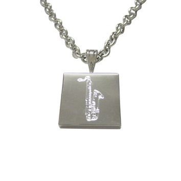 Silver Toned Etched Saxophone Music Instrument Pendant Necklace