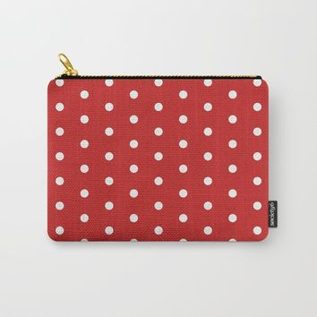 Polka dot pattern, classic red, dotted, retro style design, points, circles, ovals, vintage pin-up Carry-All Pouch by hmdesignspl