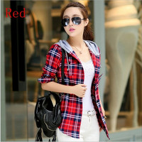 New fashion Autumn women Slim long sleeve Hoodie Casual shirts Plaid shirt Tops