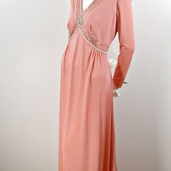 Vintage Rose Pink Dress, 70s Beaded Floor Length Maxi Evening Gown, Dusty Rose Pink Long Sleeve Grecian Dress, Long Draping Gown Size XL