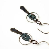 Circle copper earrings blue patina vintage parts repurposed mixed metal assemblage art deco inspired