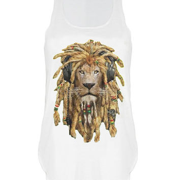 Rasta Lion print Tank top vest urban womens ladies tshirt