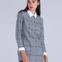 Grey Contrast Lace Paneled Check Print Wool Dress
