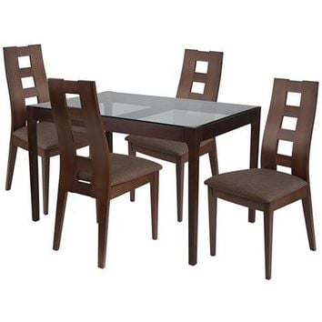 Hollister 5 Piece Espresso Wood Dining Table Set with Glass Top and Window Pane Back Wood Dining Chairs - Padded Seats