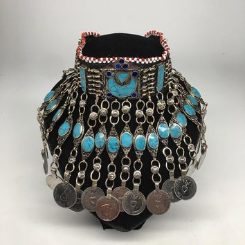 Afghan Kuchi Choker Tribal Blue Turquoise Inlay Jingle Coins Necklace, Ck153