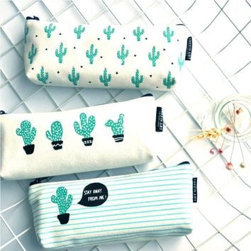 Cactus Pencil Case Canvas School Supplies Kawaii Stationery Estuches Chancery School Cute kalem kutusu Pencilcase penalty 04907