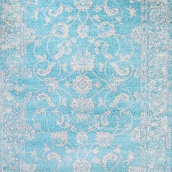 3545 Light Blue Distressed Oriental Area Rugs