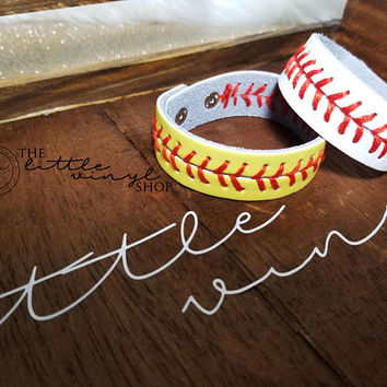 Baseball Softball Leather 2 Snap Skinny Stap Bracelet - In Stock - Baseball Season - Softball Season - Gift - Coach Gift