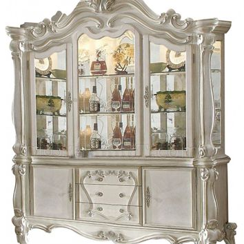 Acme 61134 Versailles bone white wash finish wood hutch and buffet