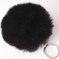 Black Pom Ball Keychain