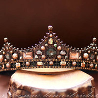 Golden Goddess Wedding maroon Crown ,Deep chocolate Rose Gold Circlet, Bridal Tiara, Princess crystal Wedding Crown