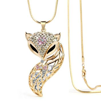 Rhinestone Fox Pendant Long snake chain necklace for women