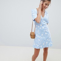 ASOS DESIGN star and heart print button through tea dress | ASOS