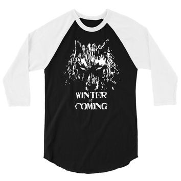game of thrones direwolf winter is coming 3/4 Sleeve Shirt