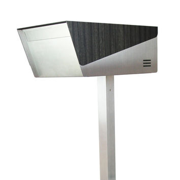 "KATANABOX ""Prime"" Wooden Edition - Stainless Steel Post-Mount Modern Design Mailbox, Lockable, Ebony Wood"