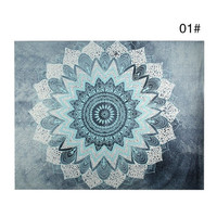 Blues Bohemian Lotus Flower Mandala Tapestry