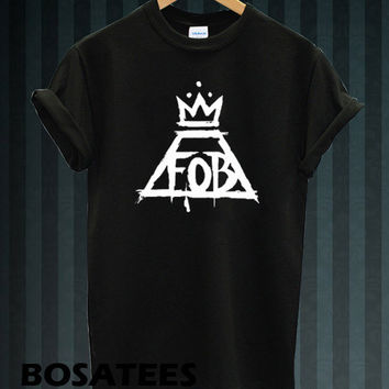 FOB Shirt Fall Out Boy Logo T-shirt Printed Black and White Color Unisex Size (BS-104)