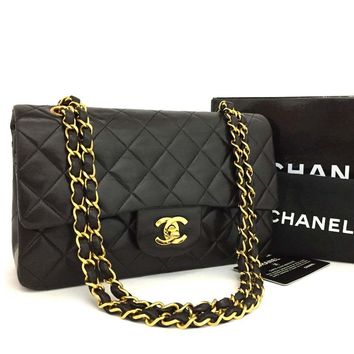 CHANEL Double Flap 23 Quilted CC Logo Lambskin w/Chain Shoulder Bag Black/k147