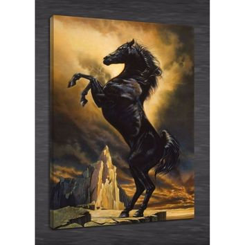 Oil Painting HD Print Animal On Canvas Modern Deco,horse king 24x36inch Unframed