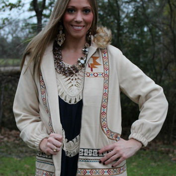 In The Aztec Sand Vanilla Jacket with Aztec Embroidery and Faux Fur Hood