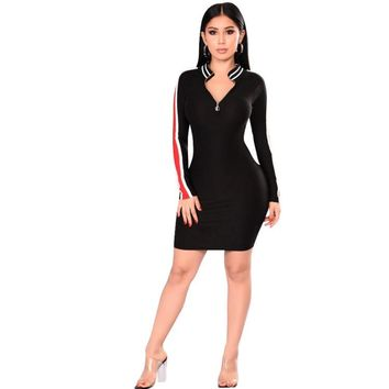 NEW Vintage Striped Dress Party Women Long Sleeve Sheath V Neck Patchwork Mini Dresses Vestidos Best Selling Products