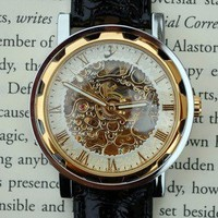 Gold and Ivory Mechanical Wind-Up Wrist Watch | Wicked Clothes