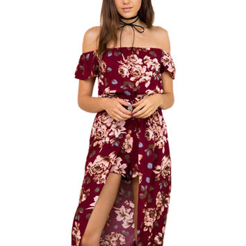 2016 New Burgundy Flower Floral Print Women Elegant Jumpsuit Romper Summer 2016 Sexy Off Shoulder Maxi Playsuit Overalls Beach
