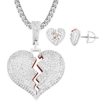 Broken Heart Love Solid Back Pendant Chain Earrings Combo
