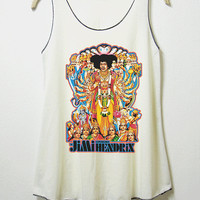 Jimi hendrix tank top , women tank top, off white shirt, screenprint, tunic, clothing tshirt, lady shirt, rock tee