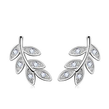 jemmin New Simple Fashion 925 Sterling Silver Leaf Olive Branch Stud Earrings Prevent Allergy Brincos Piercing Ear Jewelry