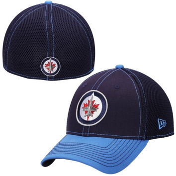 Winnipeg Jets New Era Two-Tone Neo 39THIRTY Flex Hat – Navy Blue/Gray