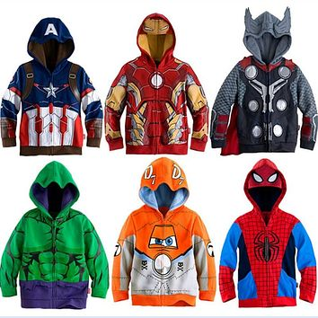 Boys Hoodies Avengers Marvel Superhero Iron Man Thor Hulk Captain America Spiderman Sweatshirt for Boys Kid Cartoon Jacket 2-8T