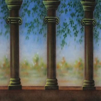 Printed Muslin Scenic Green Pillar Hallway View Backdrop - 113-8