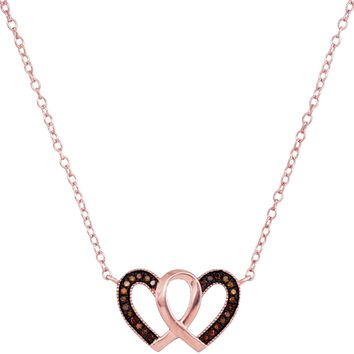 10kt Rose Gold Womens Round Red Colored Diamond Heart Love Necklace Pendant 1/10 Cttw