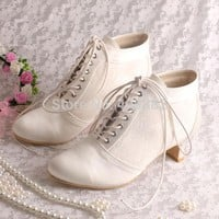 Wedopus Lace-up Ankle Ivory Wedding Boots Bridal Women Wedding Shoes Low Heeled