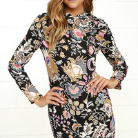 Rollas Eastern Black Floral Print Long Sleeve Dress
