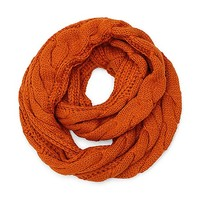 Solid Color Knitted Infinity Scarf in Orange