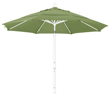 11 Foot Sunbrella 1A Fabric Aluminum Crank Lift Collar Tilt Patio Umbrella with White Pole