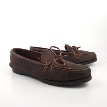 Brown Loafers  Moccasins Vintage 1980s Leather Shoes Polo Country Ralph Lauren women's size 10