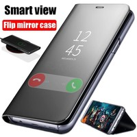 Clear View Mirror Case For Samsung Galaxy A3 A5 A7 2017 J3 J5 J7 For Samsung S8 S9 Plus S6 S7 Edge Note 8 Leather Flip case