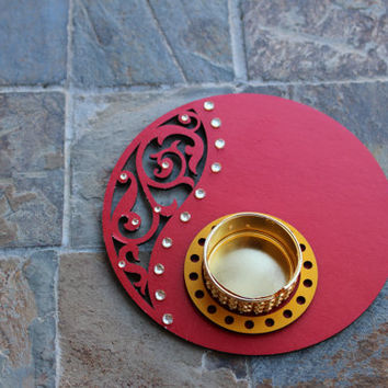 Diwali - Red Paisley Circular Tea light Holder
