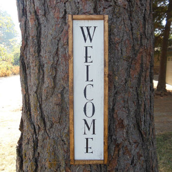 "Joyful Island Creations ""Welcome"" wood sign, lateral welcome sign, entry way sign, entry way decor, outdoor welcome sign, reclaimed wood"