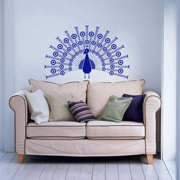 Peacock Peafowl Bird Housewares Wall Vinyl Decal Sticker Art Design Interior Living Room Bedroom Decor Mural SV3930