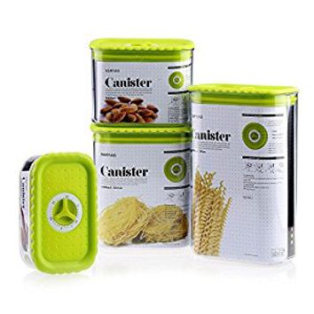 4 Piece Rectangular Canister Set Plastic Food Storage Container (Green)