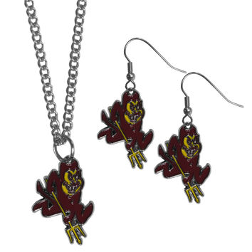 Arizona St. Sun Devils Dangle Earrings and Chain Necklace Set
