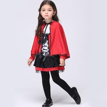 Halloween Devil Cosplay Little Red Riding Hood Costume Girl Kids Children Princess Performance Red Party Dress