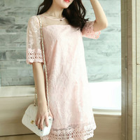 Pink Bare Sleeve Embroidered Lace Dress
