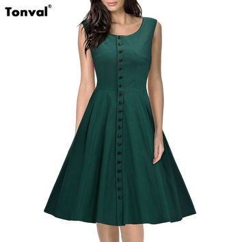 Tonval Women Summer Rockabilly Green Dress Vintage 1950s Audrey Hepburn Style Tunic Evening Party Button Swing Dresses