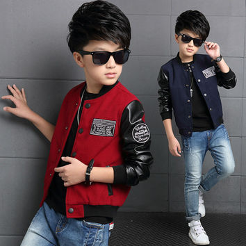 Boys Coat Polyester Faux Leather Casual Children Hoodies Brand Spring Teenage Boys Jackets Patchwork Letter Kid Clothes For Boys